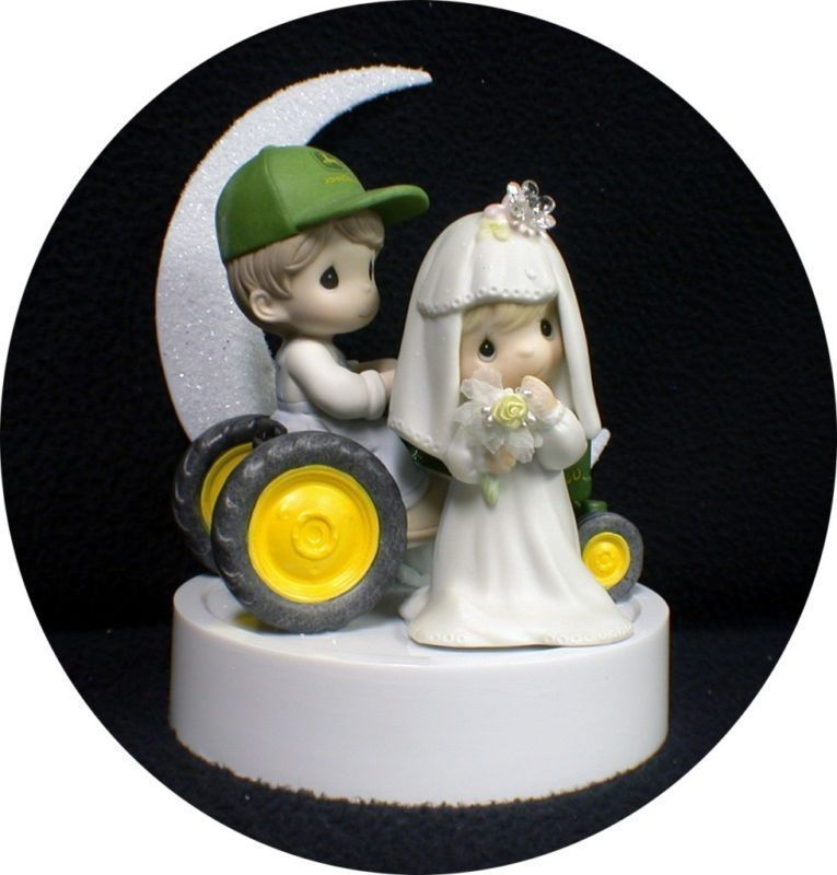 John DEERE Tractor Wedding Cake Topper W Precious Moments Figures Country Weste