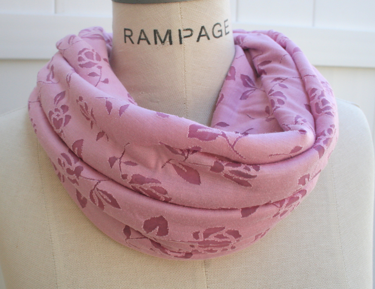 Rose Infinity Scarf Dusty Rose Eternity Scarf Fall Autumn Neckwarmer - By PiYOYO