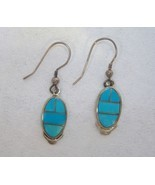 Oval Arizona Blue Turquoise Earrings Sterling S... - $135.00