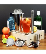 Cocktail Gift Set Shaker Tin Martini Jigger Mea... - $55.43
