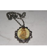 Vintage Necklace Large Pendant Porcelain Pinky ... - $30.00