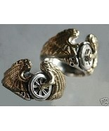 Flying Winged Wheel motorcycle Ring Sterling Si... - $79.00