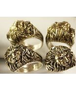 LARGE LION Head Mens ring 2-tone Sterling Silve... - $97.00