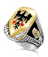 Tuetonic Eagle Mens Shield ring  sterling silve... - $104.00
