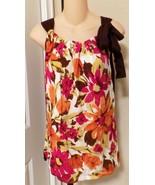 Agustin Silk top blouse women's Large brown flo... - $12.89