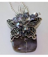 Gray stone butterfly charm wire wrapped crystal... - $14.84