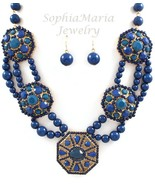 Stuning blue and gold tone multi layer Grecian ... - $20.78
