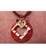 copper tone heart charm square and large sparkl... - $13.86
