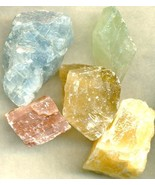 Blue Green Red Orange Amber Calcite Rough Parcel - $16.98