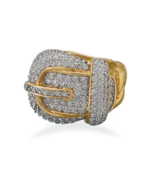 Gold Ring with CZ Buckle Design - $239.95