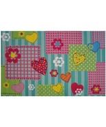 Girls Bedroom Rug Hearts Flowers Floral Striped... - $77.20
