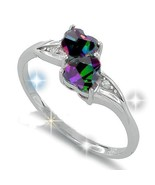 Sterling Silver Double Heart Rainbow CZ Stone ... - $26.00