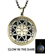Lotus Theme Brass Finish Glow Blue Locket Necklace - $18.00