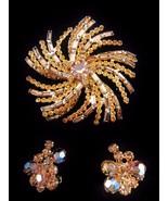 Vintage JULIANA Topaz Rhinestone Brooch & Earri... - $80.75