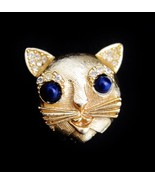 Vintage CINER Rhinestone CAT Figural Brooch (f58) - $42.75