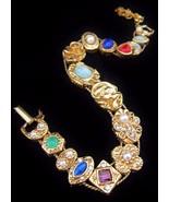 Vintage GOLDETTE Rhinestone Faux Pearl Slide Br... - $80.75