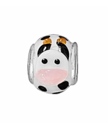 Sterling Silver Black and White Cow Story Bead ... - $17.49
