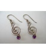 Clef Note Amethyst Earrings Sterling Silver Uni... - $79.00
