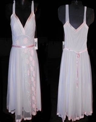 Double Nylon with Sheer Chiffon Empress Dress Womens Dress Vintage Lingerie
