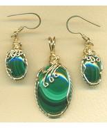 Malachite Gold Wire Wrap Pendant Earrings Set 1 - $125.52