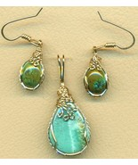 Turquoise Gold Wire Wrap Pendant Earrings Set 10 - $125.52