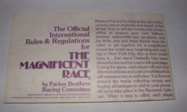 1975 The Magnificent Race Board Game Instructions - $9.00