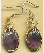 Purple Fluorite Gold Wire Wrap Earrings 5 - $42.99