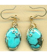 Turquoise Gold Wire Wrap Earrings 6 - $68.99