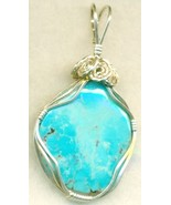 Turquoise Silver Wire Wrap Pendant 23 - $54.98