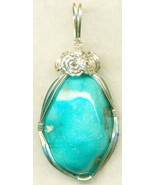 Turquoise Silver Wire Wrap Pendant 43 - $54.98