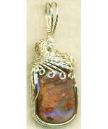 Australian Opal Silver Wire Wrap Pendant 12 - $54.98