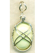 Lemon Chrysoprase Silver Wire Wrap Pendant 40 - $54.98