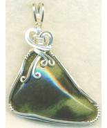 Serpentine Silver Wire Wrap Pendant 31 - $54.98