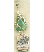Pink Blue Opal Silver Wire Wrap Pendant 3 - $54.98