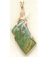 Green Jasper Copper Wire Wrap Pendant 43 - $27.93