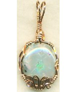 Australian Opal Copper Wire Wrap Pendant 65 - $27.93