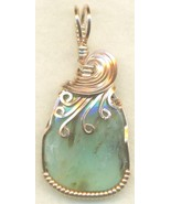 Peruvian Blue Opal Copper Wire Wrap Pendant 40 - $27.93