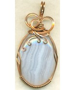 Blue Lace Agate Copper Wire Wrap Pendant 18 - $19.55