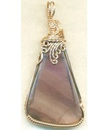 Purple Fluorite Copper Wire Wrap Pendant 62 - $27.93