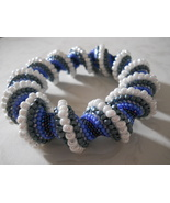 Cellini Spiral Bangle Bracelet, Blue & White,