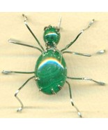 Malachite Spider Stainless Steel Wire Wrap Broo... - $31.99