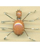 Brown Goldstone Spider Stainless Steel Wire Wra... - $15.99
