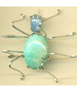 Turquoise Spider Stainless Steel Wire Wrap Broo... - $31.99