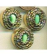 Green Cateye Beaded Button Covers 4 - $19.90