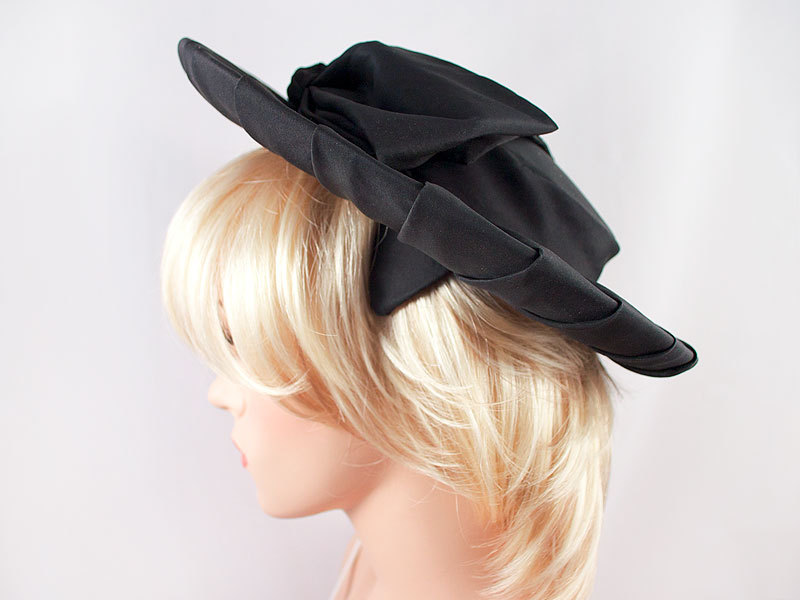 Vintage 1930's Wide Brim Black Silk Hat with Bow Wedding