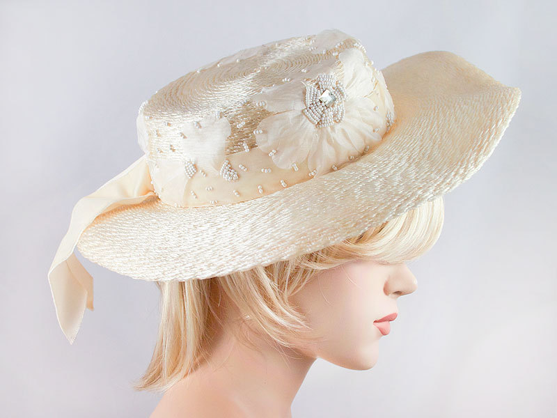 Vintage Straw Bead Silk Flower Rhinestone Wide Brim Hat Beach Easter Spring