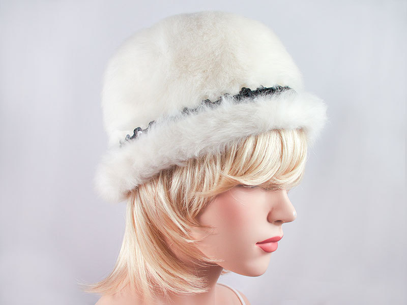 Vintage 50's White Rabbit Fur Rolled-Brim Hat with Black Sequins Spring Easter