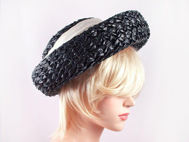 Vintage 50's Black White Wide Brim Straw Hat Fabric detail Easter Spring Wedding