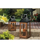 2 Hartford Candle Lanterns Wood and Glass Panes - $48.00