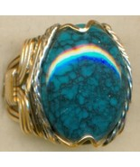 Turquoise Gold Wire Wrap Ring sz 8 - $77.70